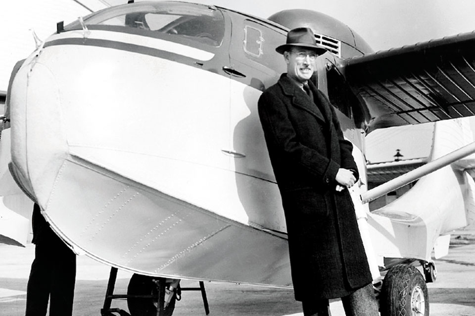 Percival Spencer poses with an RC-3 Seabee at the Republic factory. (Courtesy of E.R. Johnson)